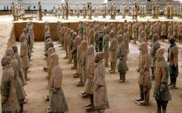Xi'an, Chine : Musée de guerriers de terre cuite Images libres de droits