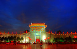 Xi'an Citywall night scene Royalty Free Stock Photos