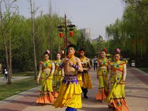 China's ethnic minorities feat. Xi 'an datang furong garden tour in China, every day can see all kinds of folk artists demonstrate skills and talents, make Stock Photography