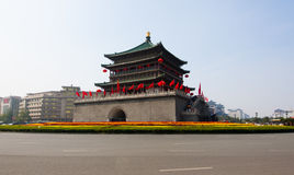 Xi'an Drum Tower at autumn Stock Image