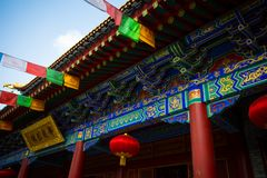 ` XI en forntida kinesisk arkitektur för Guangren tempel Arkivfoto