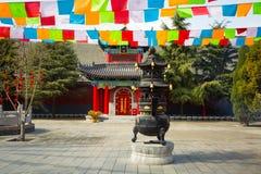 ` XI en forntida kinesisk arkitektur för Guangren tempel Arkivfoton