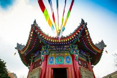 ` XI en forntida kinesisk arkitektur för Guangren tempel Royaltyfria Foton