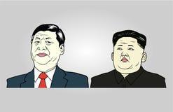 Xi illustrazione dell'Jong-ONU di Kim e di Jinping, vettore piano di progettazione Fotografie Stock Libere da Diritti