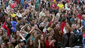 XI International Jazz Festival Usadba Jazz. MOSCOW - JUNE 15: People cheering at open-air concert on XI International Jazz Festival Usadba Jazz in Archangelskoye stock footage