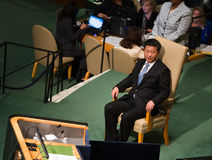 XI Jinping auf 70. Sitzung von UNO Generalversammlung Lizenzfreies Stockfoto