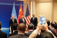 &Xi Jinping& Barack Hussein Obamab de Ban Ki-moon Fotos de Stock Royalty Free