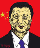 Xi Jinping, General Secretary of Communist Party of China, President of the People`s Republic of China. Drawn by hand 2d illustration in pop art style, flag Royalty Free Stock Photography