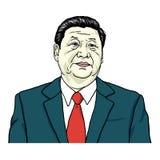 Xi Jinping-Portretvector Portretillustratie 30 juli, 2017 Stock Foto's