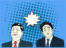 Xi Jinping And Shinzo Abe Pop Art, Flat Design, Vector Ilustration. Editorial Royalty Free Stock Image