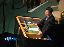 Xi Jinping sulla settantesima sessione dell'Assemblea generale dell'ONU Fotografie Stock Libere da Diritti