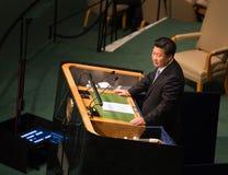 XI Jinping sur la soixante-dixième session de l'Assemblée générale de l'ONU Images stock