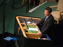 XI Jinping sur la soixante-dixième session de l'Assemblée générale de l'ONU Photos libres de droits
