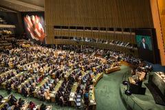 XI Jinping sur la soixante-dixième session de l'Assemblée générale de l'ONU Photo stock