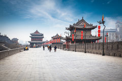 On the ancient city wall in xian Royalty Free Stock Photos