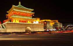 Xi 'an at night - bell tower. The bell tower of the xi 'an is one of the landmark building of xi 'an, because in the clock tower on the neon clock tower radiate stock photography