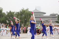 From xi 'an not ended the aunt who jumped up on the xi 'an museum square elastic dance Stock Photos