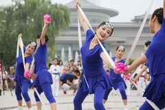 From xi 'an not ended the aunt who jumped up on the xi 'an museum square elastic dance Royalty Free Stock Photo