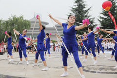 From xi 'an not ended the aunt who jumped up on the xi 'an museum square elastic dance Royalty Free Stock Images
