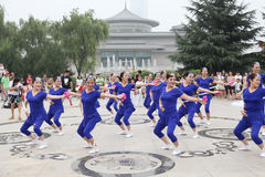 From xi 'an not ended the aunt who jumped up on the xi 'an museum square elastic dance Stock Image