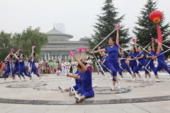 From xi 'an not ended the aunt who jumped up on the xi 'an museum square elastic dance Royalty Free Stock Image