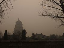 Xi'an in Smog Royalty-vrije Stock Afbeelding