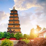 Xi`an Wild Goose Pagoda. Giant Wild Goose Pagoda in the Morning, Xi`an, China stock image