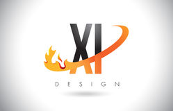 XI X I Letter Logo with Fire Flames Design and Orange Swoosh. Stock Photography