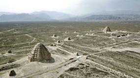 Xi Xia Imperial Tomb Panorama stock afbeelding
