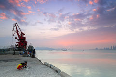 Xiamen aquatic products wharf sunset Stock Image