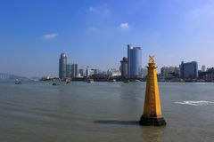 Lujiang River Cityscape Royalty Free Stock Photography