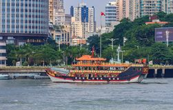Traditional Chinese boat near the Gulangyu Island in China Royalty Free Stock Image