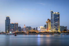 Xiamen, China. Skyline at twilight stock image
