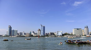 Xiamen City and the harbour Stock Images