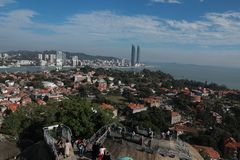 Xiamen panoramic scenery , aerial view from gulangyu island royalty free stock photography