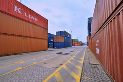 Xiamen container yard in Fujian, China Royalty Free Stock Images