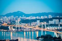 Xiamen haicang bridge closeup in nightfall Stock Photography