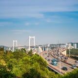 Xiamen haicang bridge in daytime closeup Royalty Free Stock Photography