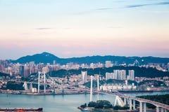 Xiamen haicang bridge at dusk Royalty Free Stock Photography