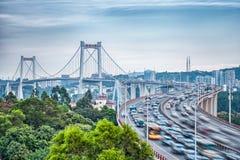 Xiamen haicang bridge at dusk with hdr Royalty Free Stock Images
