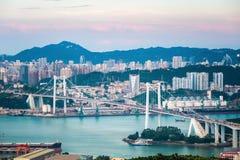 Xiamen haicang bridge at dusk Royalty Free Stock Images
