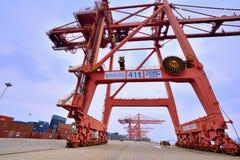 Xiamen hamnarbetsområde, Fujian, Kina Arkivfoto