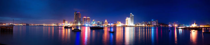 Xiamen island night scape panoramic view Stock Photos