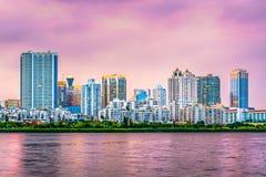 Xiamen Kina horisont royaltyfri bild