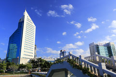 Xiamen radio and television building near bridge Stock Photos