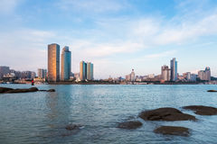 Xiamen skyline at dusk Royalty Free Stock Images