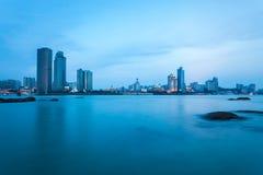 Xiamen skyline in nightfall Stock Photography