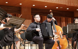 Xiamen university art college chamber orchestra student playing Royalty Free Stock Photography