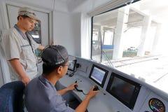 Xiamen-Untergrundbahnversuch zu laufen Stockfotos