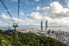 Xiamen. View from the cablecar of central Xiamen in China with skyskapers Royalty Free Stock Image